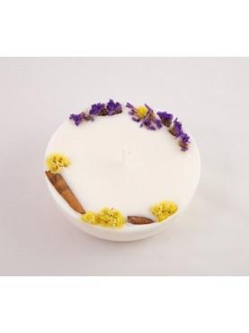 Sojų vaško žvakė su gėlių žiedais