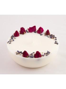 Sojų vaško žvakė su rožių žiedais